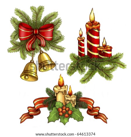 Christmas illustrations of candle and holly berry, bells and bow - stock photo