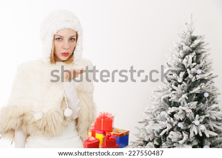 Christmas image of a Caucasian woman - stock photo