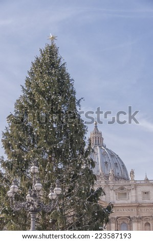 Christmas in Vatican - Saint Peter church with decorated Christmas tree. - stock photo