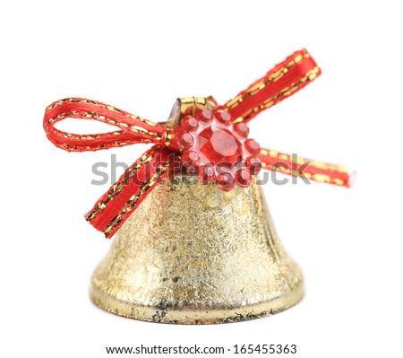 Christmas jingle bell for tree. Isolated on a white background. - stock photo