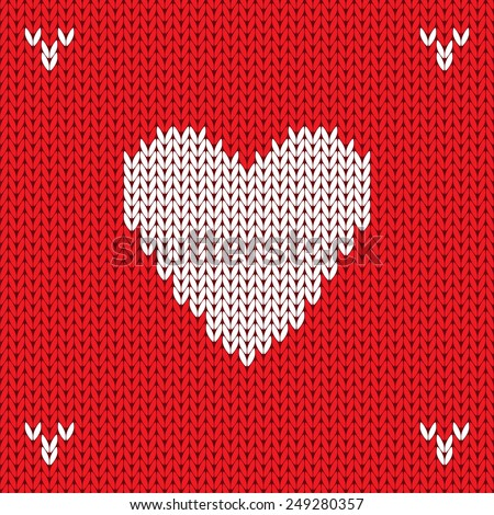 Christmas Knitted background with heart. Raster version - stock photo