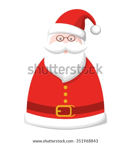 Christmas Label Icon with Santa Claus Isolated on White Background - stock photo