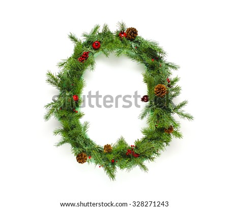 Christmas letters alphabet or font made of pine branches - Numbers - stock photo