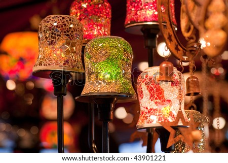 Christmas lights at Frankfurt Christmas market - stock photo