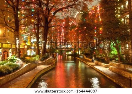 Christmas lights at riverwalk in San Antonio, Texas, USA - stock photo