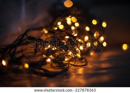 Christmas lights  creating a wonderful color of lights - stock photo