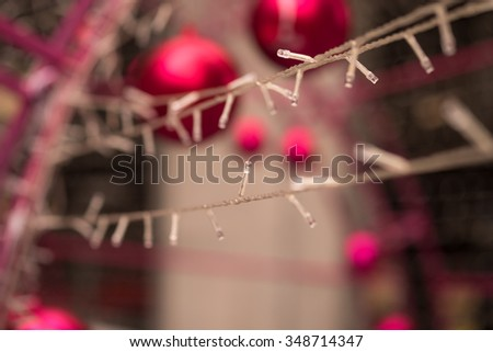 Christmas lights deco on street for holiday season background - stock photo
