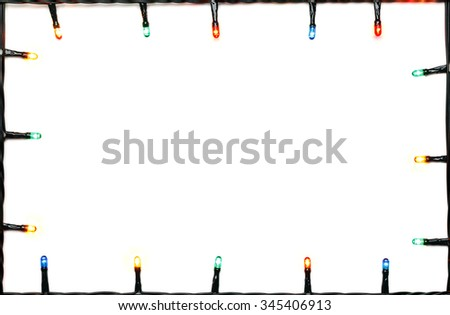 Christmas lights of different colors frame on white background - stock photo