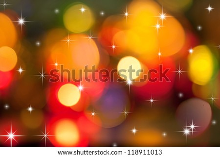 Christmas  lights of garland in dark room - stock photo