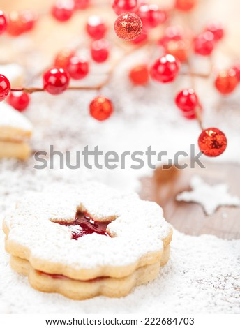Christmas Linzer cookie  - stock photo