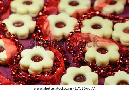 Christmas linzer flowers - stock photo