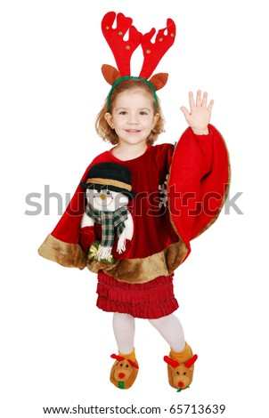 Christmas little girl with horn on head and snowman on dress greeting - stock photo