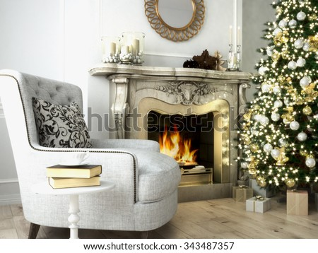 Christmas living room with a tree and fireplace. 3d rendering - stock photo