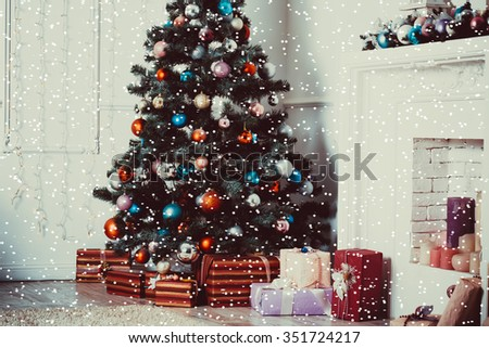 Christmas living room with Christmas Tree - stock photo