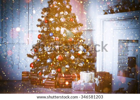 Christmas living room with glitter lights. Blue toned - stock photo