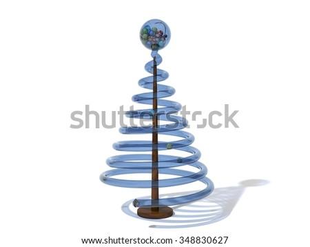 Christmas lottery tree. blue glass version. - stock photo