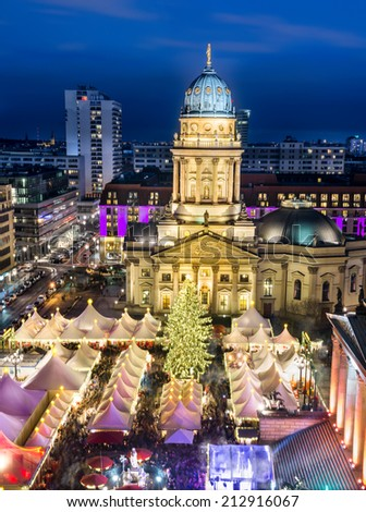 Christmas Maket (Gendarmenmarkt) in Berlin from above - stock photo