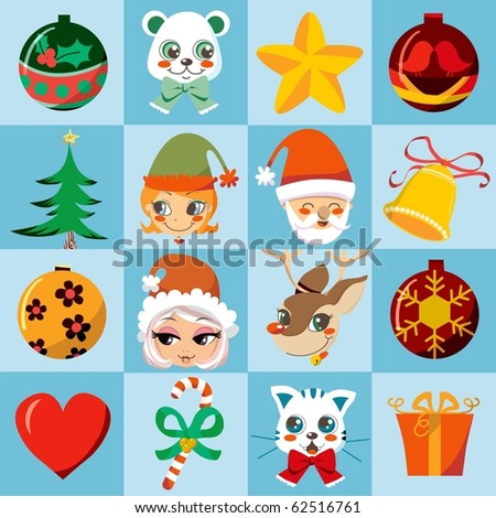 Christmas many motifs icon set. Raster version of vector illustration ID: 62445091 - stock photo