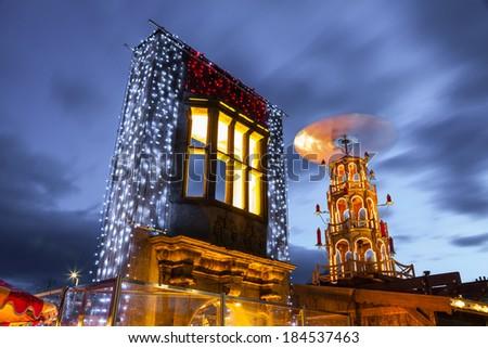 Christmas market illuminated at night in Galway, Ireland. Detail - stock photo