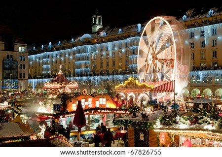 Christmas market in Dresden. It is Germany's oldest Christmas Market with a very long history dating back to 1434. - stock photo