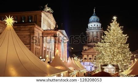 Christmas market in Gendarmenmarkt, Berlin - stock photo