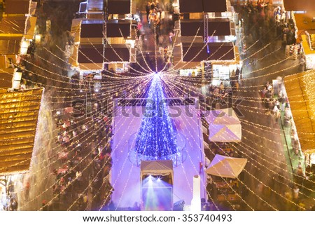 Christmas market in St. Stephen's Basilica Square, Budapest, Hungary Aerial View - stock photo