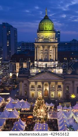 christmas market on the gendarmenmarkt market place in berlin - stock photo