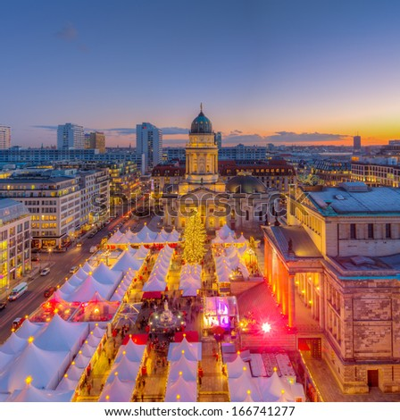 Christmas Market Panorama Skyline on Gendarmenmarkt in Berlin, Germany, Europe  - stock photo