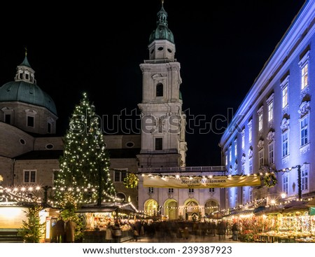christmas market with cathedral and the residence - stock photo