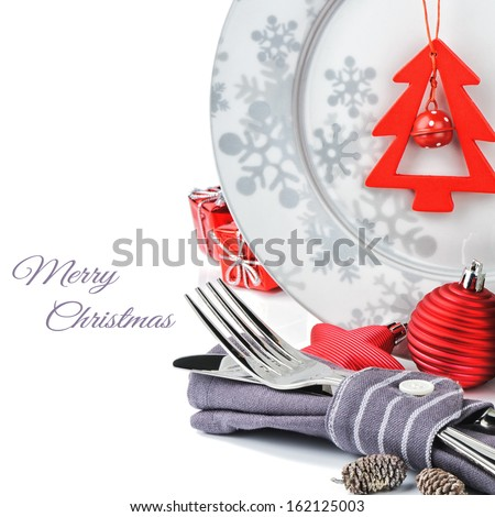 Christmas menu concept isolated over white  - stock photo
