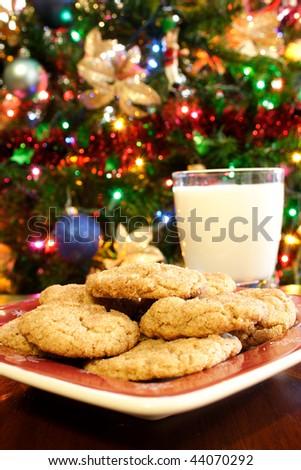 Christmas Milk and Cookies - stock photo