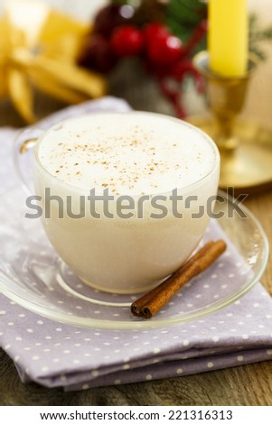 Christmas milk drink with spices - stock photo