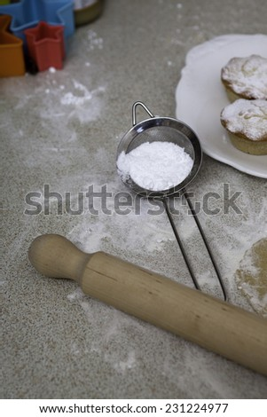 Christmas mince pies with icing sugar - stock photo