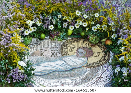 Christmas mosaic icon of Christ Child in Orthodox Christian monastery, Odessa, Ukraine.  - stock photo