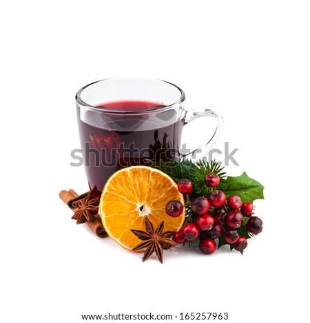 Christmas mulled wine isolated on white - stock photo