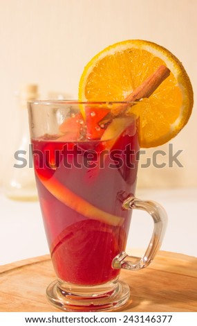 Christmas mulled wine isolated on white - stock photo