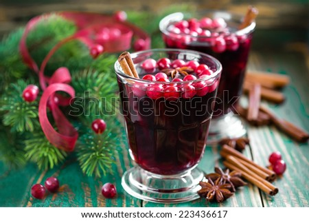 Christmas mulled wine with cranberries and cinnamon - stock photo