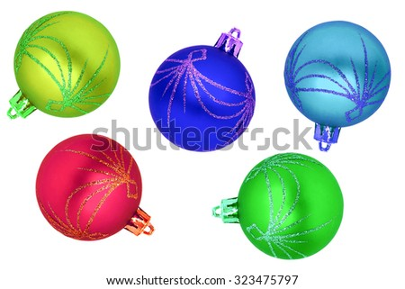Christmas multicolor balls isolated on white - stock photo