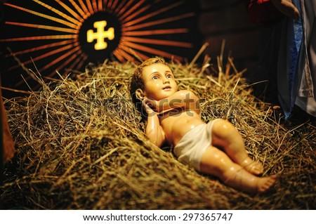 Christmas nativity crib sets - stock photo