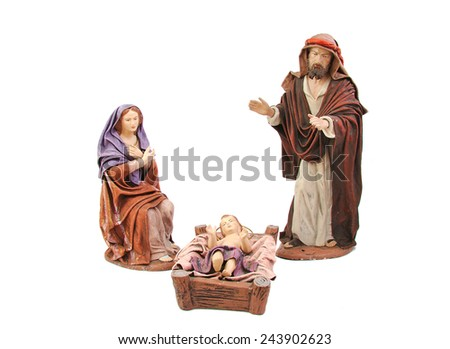 Christmas nativity. Mary, Joseph and baby Jesus isolated on white background - stock photo