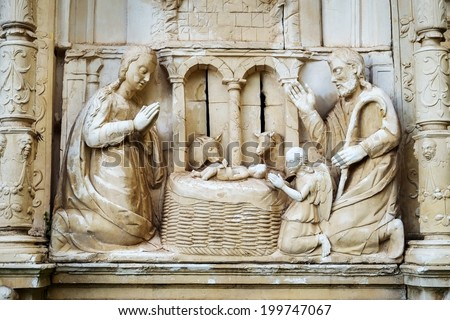 Christmas Nativity Scene - Baby Jesus, Mary, Joseph  - stock photo