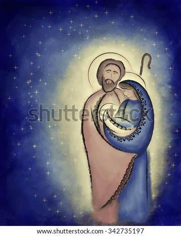 Christmas nativity scene Holy family Mary Joseph and child Jesus in a starry night abstract desaturated illustration. - stock photo