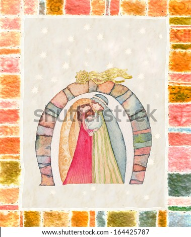Christmas nativity scene: Jesus Christ , Joseph, Mary - stock photo