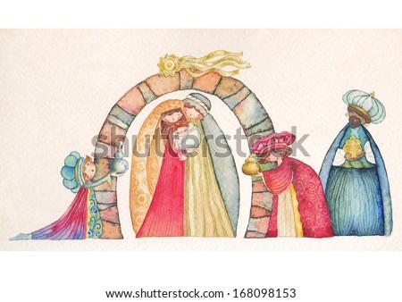 Christmas Nativity scene. Jesus, Mary, Joseph and the Three Kings.  - stock photo