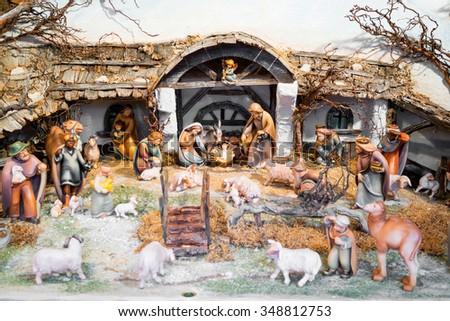 Christmas nativity scene made of natural materials - stock photo