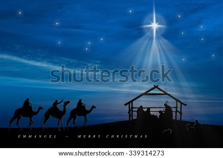 Christmas nativity scene of baby Jesus in the manger with Joseph, Mary, shepherds and three wise men - stock photo