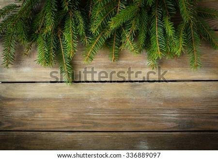 christmas natural wooden backdrop, spruce - stock photo