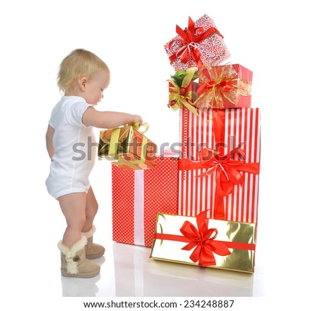 Christmas new year concept. infant child baby toddler kid preparing presents gifts for celebration isolated on a white background - stock photo