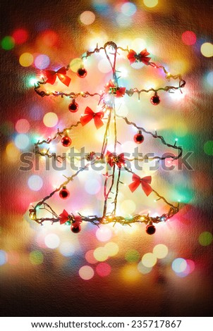Christmas New Year tree concept installation minimalist art stylish composition - stock photo