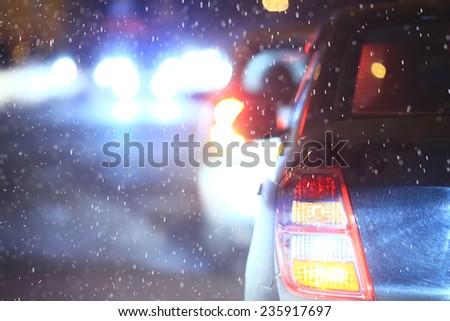 Christmas night blurred European landscape on the street - stock photo